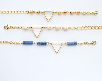 Beaded Gold Triangle Bracelet | COLOR OPTIONS | Geometric Minimal Modern Bridesmaid Gift Jewelry Good for the Soule Good for the Soule