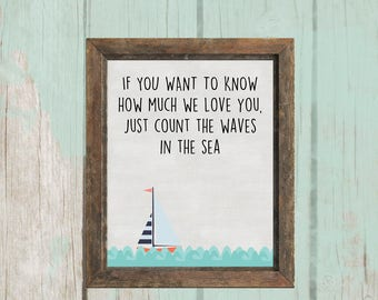 8x10 How Much We Love You Printable | Nautical Theme | Nursery Decor - INSTANT DOWNLOAD