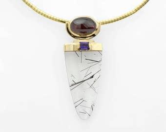 Tourmalinated Quartz, Red Garnet and Amethyst Pendant in 14K Gold Statement Necklace  Fine Handmade Jewelry