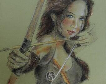 Original Pastel drawing - Jennifer Lawrence - katniss