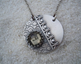 Checkerboard Quartz and Silver Necklace Artisan Jewelry
