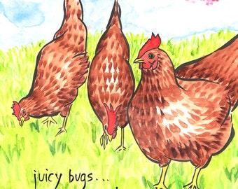02-116. happy Zen chickens art print