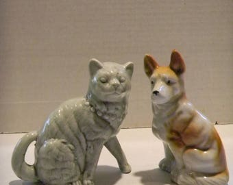 Vintage dog and cat buddies..ceramic figurines...one Japan; one unmarked