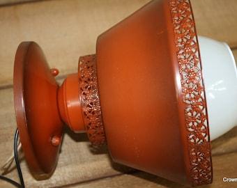 Earl Lites - Retro Lighting - Orange Metal Fixture - Ceiling Light - Vintage Lighting - Union Made