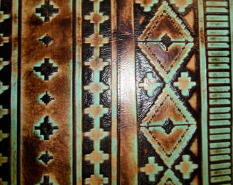 "Leather 20""x20"" Sea Foam and Mocha NAVAJO Tribal Southwestern Embossed Cowhide 2.5-3 oz / 1-1.2 mm PeggySueAlso™ E2400-02"