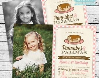 Pancakes and PJs Pajamas Birthday Photo Invitation PLUS Thank You Note