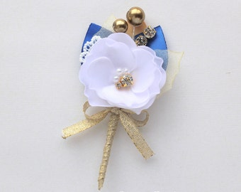 White Gold Blue Wedding Boutonniere/ Mens Boutonniere/White Gold Lapel Pin/ Handmade Accessory