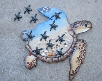 Turtle home decor,loggerhead hatchlings, turtle wall hanging,nautical decor
