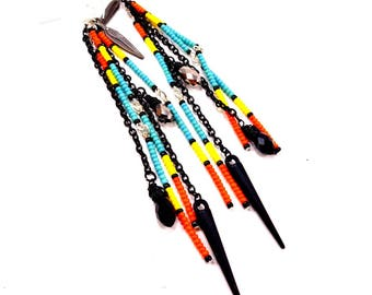 Statement Earrings, Neon Earrings, Long Earrings, Seed Bead Earrings, Orange, Yellow, Turquoise, Black, Feather Earrings, Spike Earrings