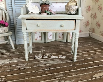 Dollhouse 1:12 Cottage Sage Green Desk Miniature Shabby Farmhouse