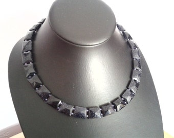 Midnight Blue Goldstone Bead Necklace/Cleopatra Collar, OOAK design.