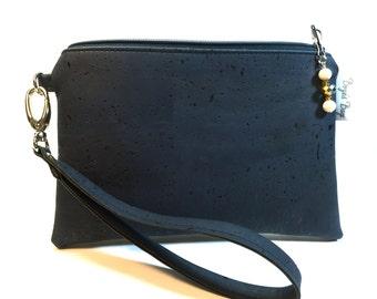 Cork wristlet, Navy wristlet, vegan purse, wristlet, colored cork fabric bag, cork fabric purse, vegan leather bag, eco friendly bag