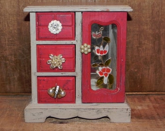 Red and Tan Vintage Jewelry Box - Vintage Earrings - Necklace Hanger, Mirror, Refinished, Shabby Chic, Dresser Jewelry Box
