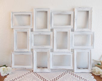 White Shabby Chic Wedding Seating Chart Collage Frame Spring Summer Fall Winter Reception Centerpiece Decoration Cottage Home Decor Gift Her