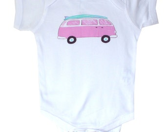 Surfs Up VW Surfboard Van Beach Baby Onesie
