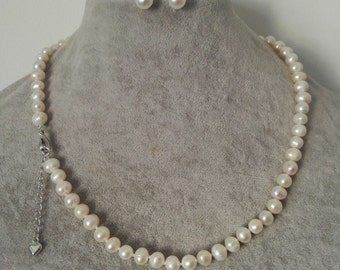 pearl set- 6-7 mm white freshwater pearl necklace & earrings set, with Extended chain