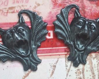 TWO Small Vampire gargoyle brass stampings, black satin finish