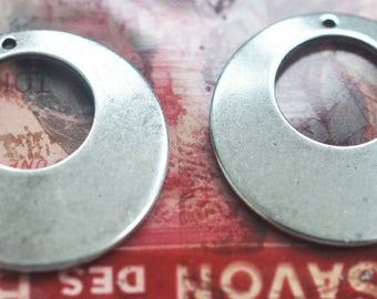 Brass pirate hoops, earring pendants, Sterling Silver Ox