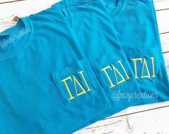 Sorority Shirts | Greek Shirt | Sorority apparel | Rush Big Little sorority | COMFORT COLORS Monogrammed Sorority Shirt | Embroidery Shirt
