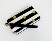 Cell Phone Wristlet - black and white stripe - wallet - gold dot - fits iphone/galaxy