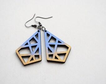 Geometric earrings, filigree earrings, abstract earrings, serenity and gold earrings, hand painted earrings, gift for her laser cut earrings
