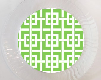 Green Chinoiserie Plastic Plate - Set of 12