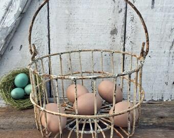 Vintage Wire Egg Basket - Shabby - Smaller Sized Basket - Rusty - Farm Find - White