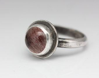 Royal Lepidocrocite Quartz & Sterling Ring, AAA Quality, Size 6.25
