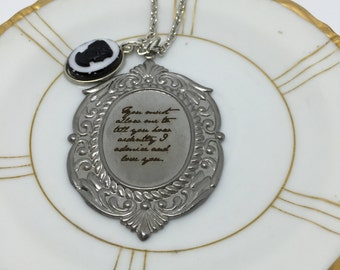 Jane Austen Necklace, Pride and Prejudice Necklace, Jane Austen Pendant, You Must Allow Me to Tell You, Literary Necklace, Quote Necklace