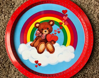 Vintage 80s 90s Cute Bear Hearts Tin Plate Valentines Tray Rainbow cookie plate