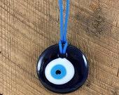 Large Blue Evil Eye Pendant Handmade Glass Evil Eye Traditional Nazar Boncuk Evil Eye Decor Evil Eye Talisman Housewarming Gift Hostess Gift