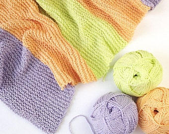 Playful Blanket - easy knitting pattern in PDF - instant download