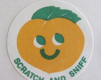 SALE Rare Vintage CTP Matte Scratch and Sniff Peach Sticker from 1977 - Collectible 77 CTP77 Scrapbook Teacher Reward Apricot Fruit