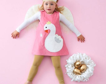 swan princess fairytale glitter pinafore dress in pink cord for little girls and babies