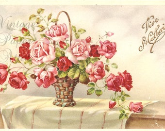 Pretty Pink Roses in Basket Vintage French Postcard from Vintage Paper Attic