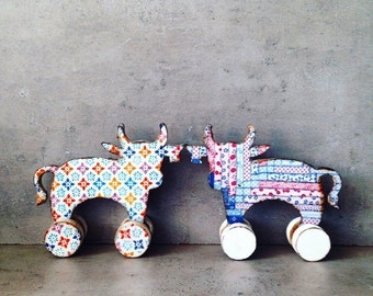 ON SALE Nursery decor, Baby shower rustic home decor cow figure, rolling toy