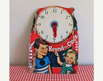 20% off SALE vintage 1950s children's book -  'ROUND the CLOCK' board book