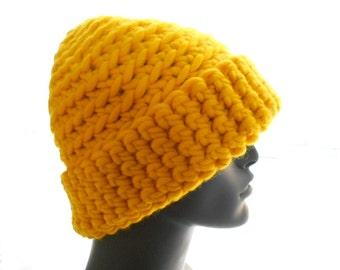 Super Bulky Beanie, Wool Crochet Hat, Beanie Hat in Canary Yellow, Women's Hat, Men's Hat, Medium Size
