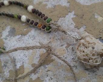 Macrame Beaded Necklace, Coral Beach Necklace, Boho Style Jewelry, Macrame Hemp Jewelry, Beaded Style Jewelry, Hemp Jewelry, Coral Pendant,
