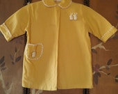 60s yellow virgin wool baby jacket / robe with furry bunnies attached by Julius Berger & Co