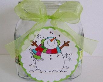 "Snowman ""Merry Christmas"" Large Treat Jar"