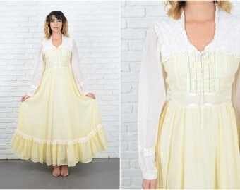 Vintage 70s Yellow Gunne Sax Dress embroidered Lace Victorian XXS 9280