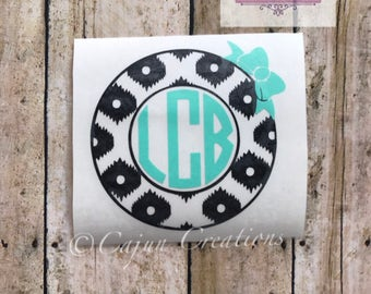 Monogram decal, car decal, bow decal, leopard decal, leopard print decal, personalized decal, vehicle decal, vinyl decal, Monogram gifts