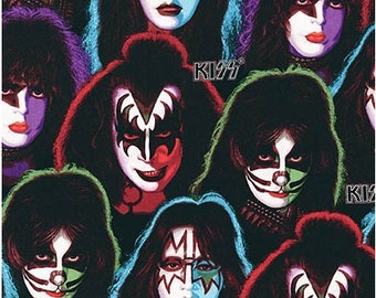 Kiss Band Members Faces on Black from Robert Kaufman's Kiss Collection