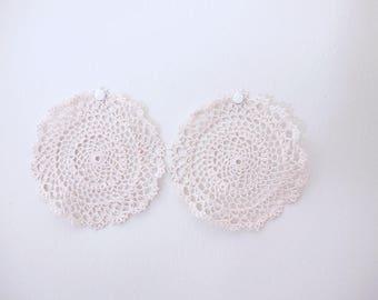 Antique Style Fine Lace Handknit Crochet Dollies (2pcs)