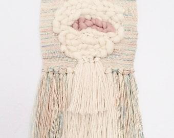 Medium Roving Circle Weaving / Hand Woven Wall Hanging / Woven Tapestry