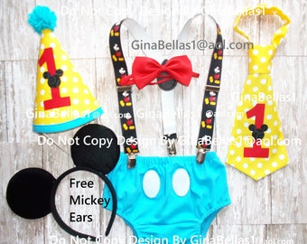 Mickey Mouse Birthday outfit cake smash red blue yellow Free Ears MM Suspenders I am One Hat diaper cover bow or tie 9 12 18 24 toddler NEW