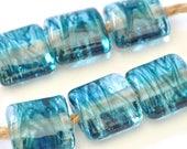 Summer Square - Handmade Lampwork Glass Beads -  Aquamarine Square Shaped Handmade Bead Set