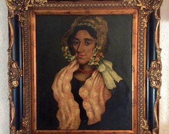 Sale Antique Oil Painting Portrait of a Spanish Woman O/C Picasso? Art Framed Home Decor