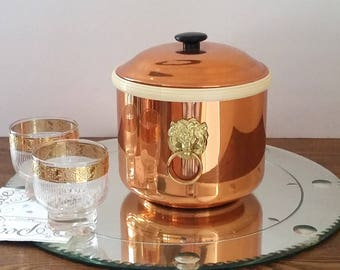 60s Gleaming COPPER ICE BUCKET - Elegant Brass Lion Head Handles -  Sold on the Copper Craft Guild's Mid Century Party Plan